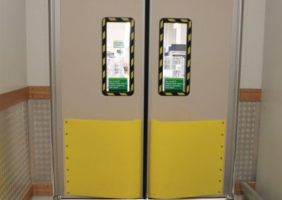 Traffic Doors with Safety Yellow Teardrop Bumpers