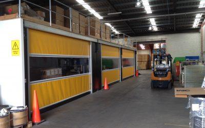 Mezzanine application for rapid roll doors