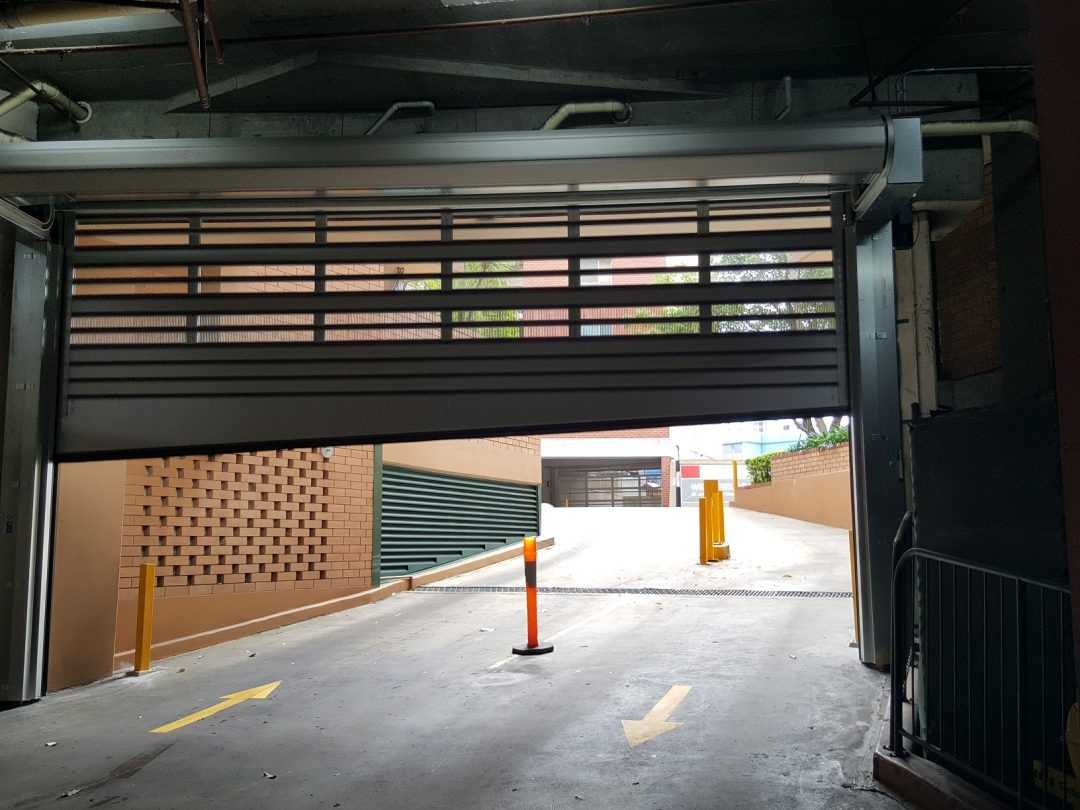 High speed door for major carpark with graded entrance